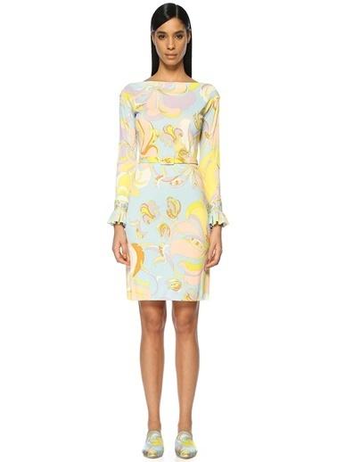 Kayık Yaka Şal Desenli Midi Elbise-Emilio Pucci